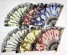 Chinese Folding Hand Fans - Glitter Rose Flower Print Lace Fans *Us Seller*