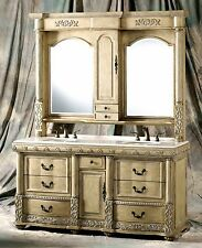 "68"" Double Vanity w/ Marble Top, Hutch w/ Lights, & Faucets - Gina-67F"