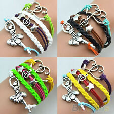BG2U Multilayer Ballerina Dancing Girl Leather Cuff Bracelet Bangle Charms Chain