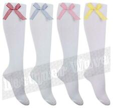 Girls Childrens Gingham Check Bow White Knee High Socks Long Infant School