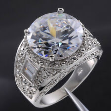 Sz 9-13 Deluxe Mens Jewelry White Sapphire White Gold Filled Huge Ring Best Gift