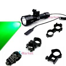 CREE LED Green Hog Hunting Rifle Tactical Flashlight Torch&Mount&Pressure Switch