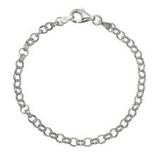"925 Sterling Silver 4mm Italian Round Rolo Cable Link Chain Bracelet 7"" - 8"""