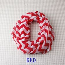 Women Infinity Chevron Color Block Chunk Circle Double Loop Scarf Wrap