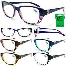 Plastic Color Reading Glasses with Butterfly Rhinestone Design