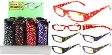Plastic Color Reading Glasses with Polka Dot Design and Pouch