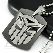 Stainless Steel Transformers Autobot LOGO Black Dog Tag Pendant Necklace NEW M11