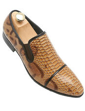 Fiesso Mens Brown Snake Animal Print Trendy Patent Leather Loafer Medium Shoe