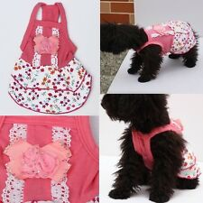 Pet Dog Puppy Cute Lace Pearl Flower Skirt Dress Crystal Bowknot Princess Clothe