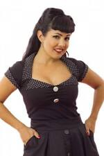 Women's Pinky Pinups Tailored Top Black/Black Retro Vintage Rockabilly Pinup