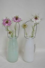 GISELA GRAHAM OPAQUE GREEN OR WHITE GLASS BOTTLE/VASE WITH HANDLE