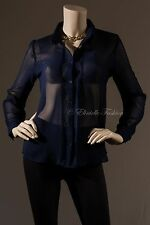 New Women's Double Chiffon Long Sleeves Blouse Tops Pin Tucks Navy Blue S M L