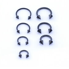 BLACK Horseshoe Bar, Lip Nose Septum Tragus Ear Ring Various Sizes WITH CONES