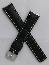 Black alligator-style leather pin buckle band for TAG Heuer 6000 Series gents