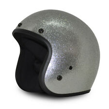 Silver Metal Flake Open Face Retro 3/4 Motorcycle Helmet DOT Cruiser S M L XL +