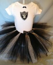 NFL Oakland Raiders Tutu Dress Ballet Cheer Baby Girl 0-3 thru 18 mo