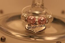 A23T Pink Top Table Personalised Wedding Wine Glass Charms/ Favours /Decorations