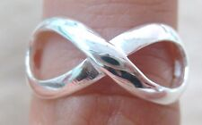 """925 STERLING SILVER plain INFINITY symbol lucky """"8"""" RING size I to X or 4.5-11.5"""