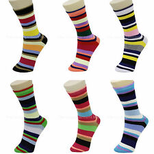 6 Pairs Lot Womens Mens Striped Dress Socks Crew Design Multi-Color Size 9-11