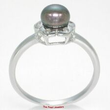 Sterling Silver 925 Rhodium Finish, Peacock Cultured Pearl & Cubic Zirconia Ring