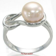 Sterling Silver 925, 9-10mm Pink Freshwater Cultured Pearl Love Knot Ring