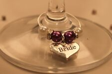 A27T Purple Top Table Personalised Wedding Wine Glass Charms /Favours/Decoration