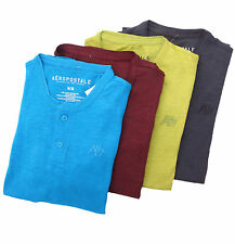 Aeropostale Men Short Sleeve A87 Solid Henley $0 Free Shipping