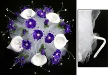 New! Bridal - Quinceanera - Sweet 15 Hand-Made Bouquet - Purple #2 ( # E18910 )