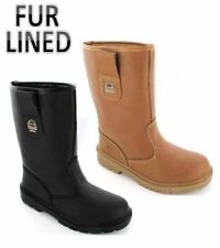 Mens Ladies Work Tan Black Safety Rigger Boots Shoes Steel Toe Cap Size 3 -13