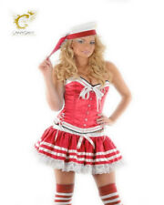 Womens Ladies Sexy Sailor Corset Basque Tutu Hat Socks Fancy Dress Red Bow Plus