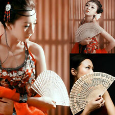 Vintage Chinese/Japanese Style Hollow Folding Bamboo Wooden Carved Hand Fan