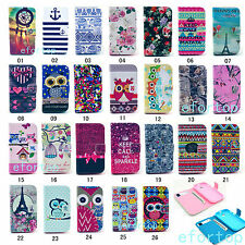 Fashion Flip Printed Design PU Leather Wallet Stand Case Cover For Motorola E