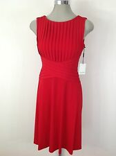 Calvin Klein NEW Red Dress Ribbed Stitch Slimming Design With Flare Skirt