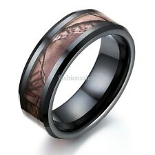 Fashion 8mm Black Camouflage Ceramic Ring Womens Mens Wedding Anniversary Band