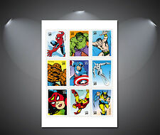 Vintage Marvel Comic Heroes Collage Poster - A0, A1, A2, A3, A4 Sizes