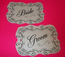 BRIDE & GROOM ❤️ CUSTOM Chair Signs Banner Couple Props Table Wedding Reception