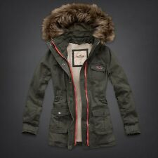 NWT Hollister by Abercrombie Sherpa Lined Parka Jacket, Medium Small Large Olive