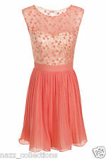 CORAL SEQUIN & FLORAL EMBELLISHED PLEATED CHIFFON SKATER PARTY PROM DRESS 8-14