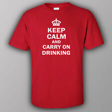 Funny T-shirt - KEEP CALM AND CARRY ON DRINKING alcohol vodka whiskey beer wine