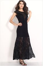 Sexy Ladies Black Fringe Split Long Lace Evening Prom Dresses Vestidos De Fiesta