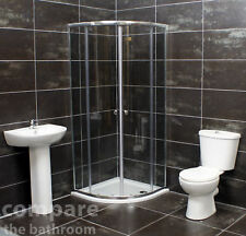 900mm Quadrant Shower Cubicle Bathroom Suite Basin + Toilet + Tray Options