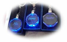 Engraved Gift Personalised Photo Crystal Key Ring photo + message