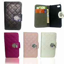 Quilted Designer Diamond Leather Book Flip Wallet Case Cover For Apple iPhone
