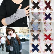 Fall winter Fashion Unisex Knit Fingerless Gloves Arm Warm Long Mitten 10 Colors