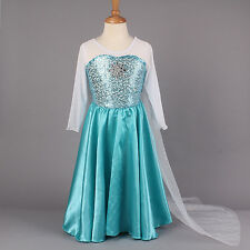 Unique Frozen Queen Elsa Princess Dress Costume Dress Up Girl Aqua Cape Next Day