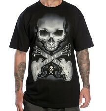 2014 Sullen Men's Bob Tyrrell Rock Badge Tattoo Skull Guitar T-shirt tee Black