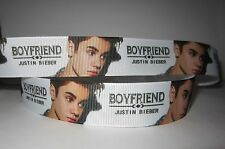"GROSGRAIN JUSTIN BIEBER 1"" INCH RIBBON *YOUR CHOICE OF 1,3 or 5 YARDS"