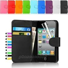 Flip Wallet Leather Case Case Card Holder for Apple iPhone 4 4S w/Screen Film
