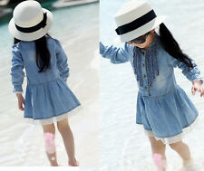 Fashion Girl Kids Spring Summer Denim Lace Cowboy Clothes Long Sleeve Dress