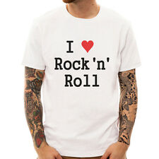 I Love Rock n Roll heart hippy 60s pop party music band punk gift white t-shirt